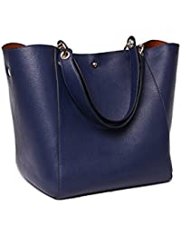 Pahajim Fashion Pu Leather Waterproof Handbags Women Tote Bags Shoulder Bag (Blue)