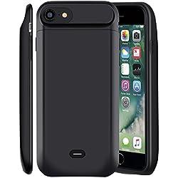 """Coque Batterie iPhone 7/8,MSDJK 5000mAh Chargeur Portable Batterie Externe Rechargeable Puissante Power Bank Coque Chargeur de Protection pour iPhone 7/8(4.7"""") (Noir)"""