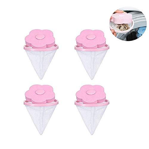 WJGJ Waschmaschinen-Flusenfänger Flusenfänger, Schwimmender Haustierfänger, Wiederverwendbarer Haushaltsfilter-Netzbeutel Waschmaschinen-Flusenfänger (Farbe : Pink(4 Pack)) -