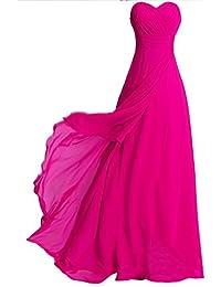 Fashion Plaza chiffon ohne Träger langer Abendkleid Modul D072 (EU40, rosa rot)