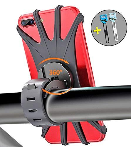 Fahrrad Handyhalterung, Bothink Silikon Verstellbarer Handyhalter für Fahrrad Motorrad, Universal Fahrradhalterung Fahrradhalter mit 360° Drehbare Verstellbar für 4-6 Zoll Smartphone (Schwarz)