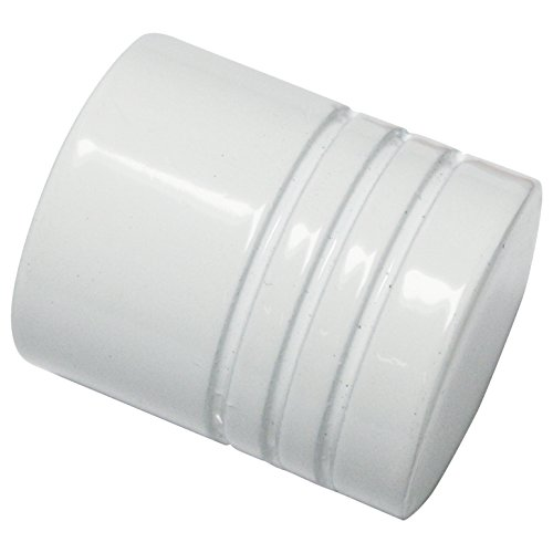 GARDINIA Endknöpfe für Gardinenstangen, 2 x Endstück Zylinder, Serie Chicago, Metall, Weiß, Durchmesser 20 mm