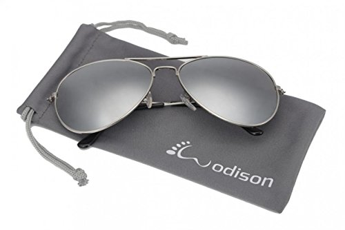 WODISON Vintage Aviator Sunglasses Reflective Mirror Lens