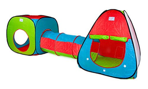 Spielzelt mit Tunnel für Kinder - Pop-Up-Design - Bunt in Rot/Blau/Grün