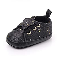 Amaliy Sequins Infant Shoes Girls Boys Newborn Baby Shoes Baby Trainers Casual Sneakers (0-6 Months, Black)