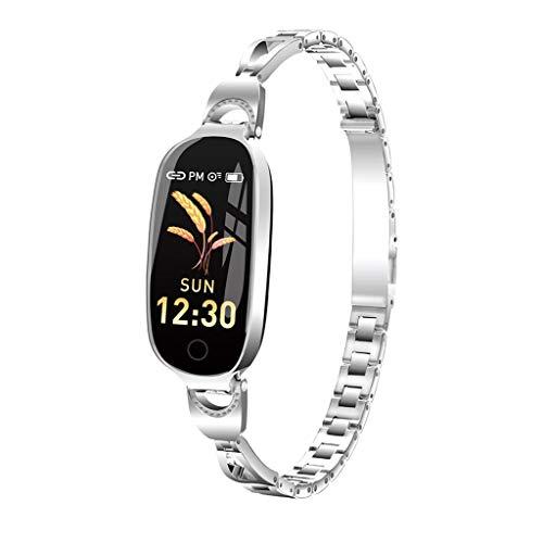 Muium L18 Smart Watch IP68 Armband Sport Fitness Aktivität Herzfrequenz Tracker Blutdruck Uhr mit Schlafmonitor Schrittzähler Kalorienzähler für Kinder Damen Herrn (Silber) -