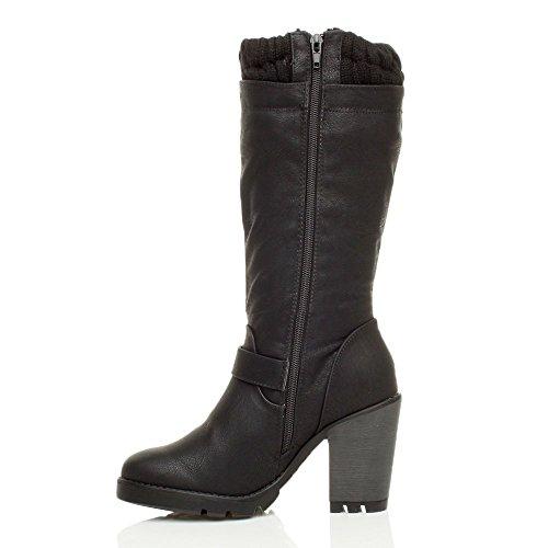 Femmes haute talon carré col tricoté hiver biker bottes de mollet pointure Noir