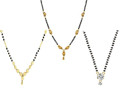 Quail Gold Plated Pendant Crystal Mangalsutra Combo of 3 mangalsutra with Beaded Chain for Women