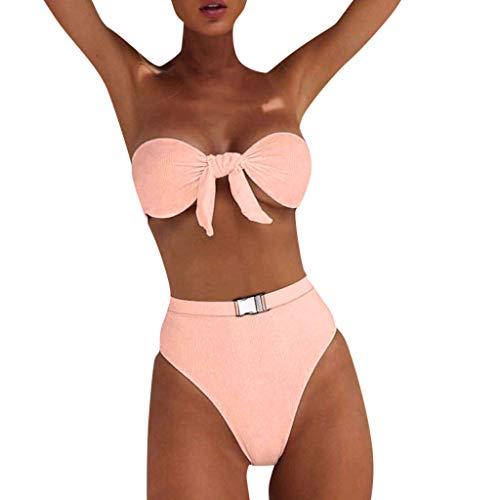 SoonerQuicker Badeanzüge für Mädchen Bandeau Bandage Bikini Set Push-Up Brazilian Swimwear Beachwear Badeanzug Rosa XL
