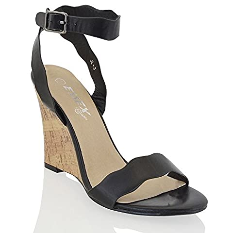 Womens Strappy Wedge Heel Ladies Peep Toe Synthetic Leather Ankle Strap Shoes 3-8