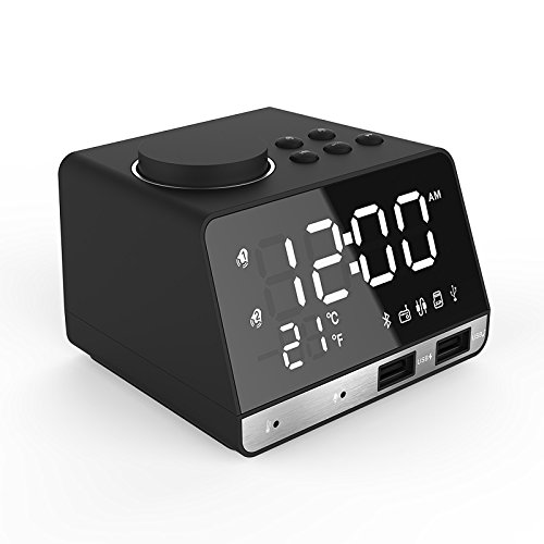 MHCOZY Wireless Bluetooth Speakers 8 Pin Charger Dock Station FM Radio  Alarm Clock Desktop Speakers