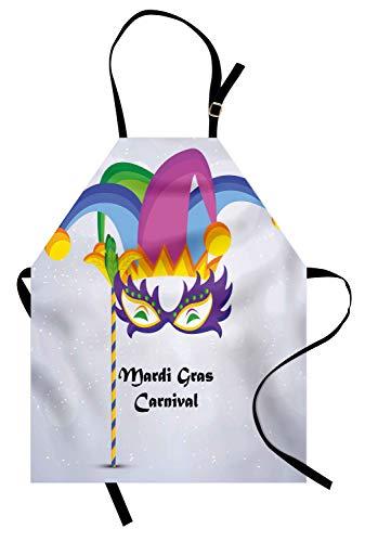 Kochschürze, Mardi Gras Karneval Inschrift mit traditionellen Party Icons Clown Kostüm Hut, Farbfest Höhenverstellbar Waschbar Klarer Digitaldruck, Mehrfarbig ()