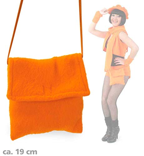 Plüschtasche in Zwei Farben erhältlich, Neon-Grün oder Neon-Orange, Accessoire, Ideal für unterwegs, Umhängetasche, Damentasche, Karneval (Neon Orange)