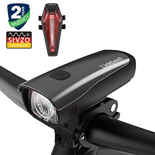 Linkbest Fahrradbeleuchtung Set Stvzo zugelassen USB wiederaufladbare Fahrradlicht, Samsung Li-ion Akku 2600mAh, 40 Lux, Cree LED,wasserdicht IPX-5, verstellbare Halterung Fit für alle Fahrräder