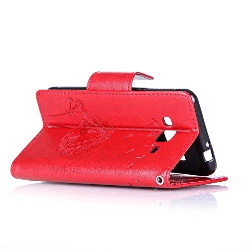 Galaxy J3 (2016) Hülle,Galaxy J3 (2016) Ledertasche Brieftasche im BookStyle,SainCat PU Leder Wallet Case Folio Schutzhülle [Shell Owl Muster] Hülle Lederhülle Bumper Handytasche Skin Schale Soft Back Löwenzahns Diamant-Rote