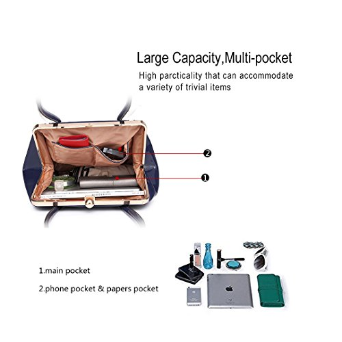 Miss LuLu Damentasche Elegant Schultertasche Shopper Tote Umhängetasche Handtasche Henkeltasche Patent PU-Leder LT6618-Dunkelblau