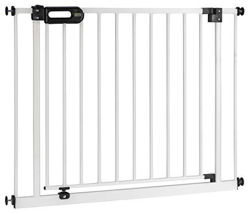 BOMI Treppen Gitter 85-243 | Zum Klemmen | 90° Stop | Schließt automatisch | Absperrgitter weiß für Treppen, Türrahmen | Hochwertiges Treppenschutzgitter mit Tür