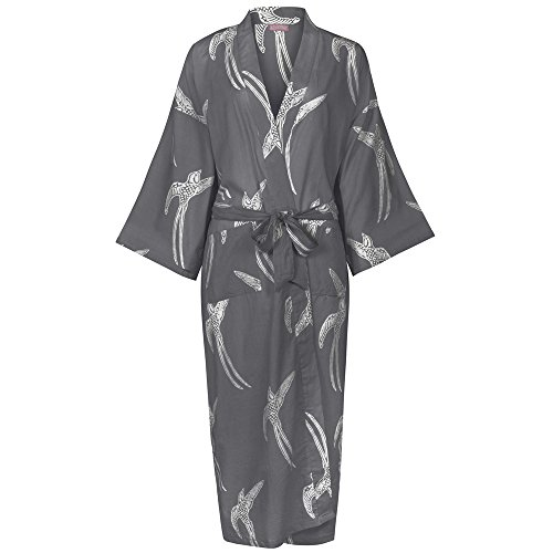 Ladies Lightweight Cotton Dressing Gown - Kimono Robe - Long Tailed Bird  White on Grey   Lightweight 100% cotton 57ac30d49
