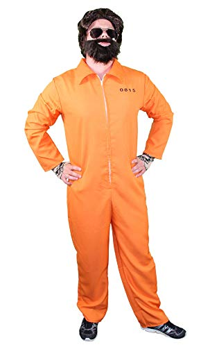 Foxxeo orangener Gefangemer Kostüm für Erwachsene zu Karneval und Fasching - gefangener Gangster Boss Jumpsuit orange Overall Junggesellenabschied Herren Anzug- Gr. S (Etikettgröße: M), Variante A (Orange Gefängnis Kostüm)