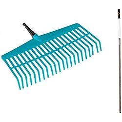 Balai râteau emmanché Combisystem de GARDENA: râteau en plastique de haute qualité, doux pour la pelouse, manche en bois certifié 100% FSC®, largeur de travail 43 cm (3020-23)