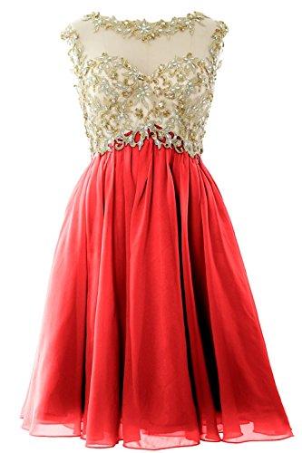 MACloth Women Cap Sleeve Gold Lace Chiffon Short Prom Homecoming Dress Ball Gown Rot