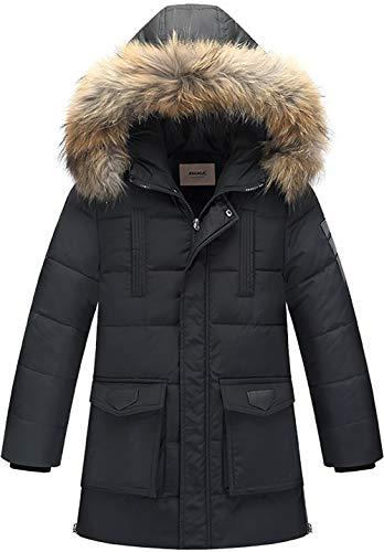 Zoerea Jungen Daunenjacke Winterjacke Mantel mit Kapuze Verdicken Schneeanzug Warm Kinder Trenchcoat Winter Oberbekleidung Kleidung (Etikett 160 (Körperhöhe 150-160cm), Schwarz)