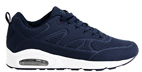 Mens Air Tech Lace up Shock Absorbing Running Fitness Sports Gym Sneakers Trainers Shoes Sizes UK 7-12 (UK 8, Navy/White Mesh)