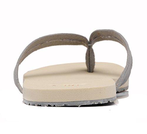 Insun Herren Zehentrenner Slingback Normal Flach Canvas Sandalen Flip Flops Grau