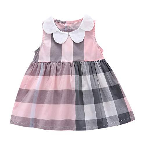 Kleid T-ShirtRundhals Blusenkleid Karierte ärmellose Tops Kleid 1-5 Jahre Sommerkleid Weste A-Linie Knielangen Kleid(Rosa,18-24 Monate) ()