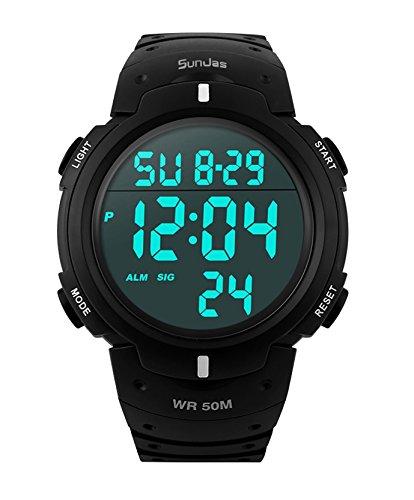 SunJas Reloj Electrónico Impermeable de 50m de Multifunciones Pulsera de Moda con Luces para Deportes Exteriores para Hombres (Negro)