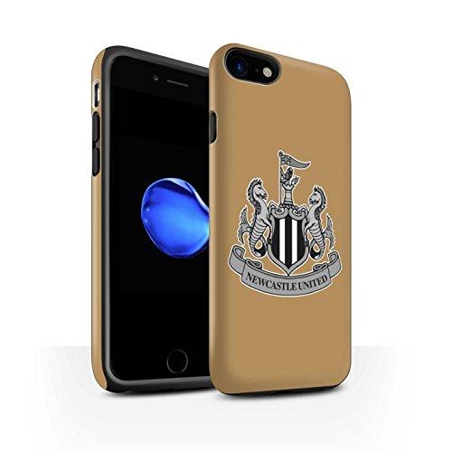 Officiel Newcastle United FC Coque / Matte Robuste Antichoc Etui pour Apple iPhone 8 / Mono/Noir Design / NUFC Crête Football Collection Mono/Or