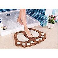 ParaCity Non Slip Bath Mat Big Feet Bathroom Shower Rugs Shaggy Carpet Absorbent Doormat Floor Mat (48*67CM, Light Brown)