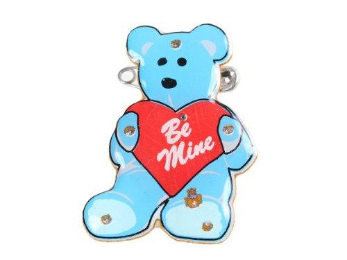 Alsino Blinki LED | Anstecker Blinky | Pin Button Blinkies | leichtes anstecken mit Nadel & Batterien | 24 Stunden Blinkpower Teddy mit Herz 27