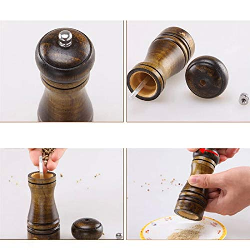 Salt And Pepper Grinder - Good Salt And Pepper Grinder Hand Movement Oak Wood Mill With Ceramic Grinding Cord Cooking 5 8 10 - Combination Holder Woman Pepper Copper Filled Unique Brass Luxur Combo Green Compact