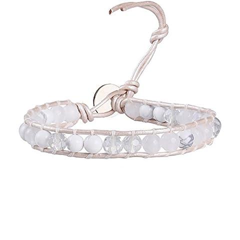 KELITCH Cuir Manchette Bracelet Avec Blanc Howlite, Cristal