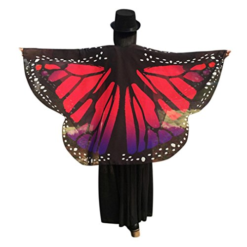 Halloween Weihnachten Kostüm Frauen - OVERDOSE Frauen Schmetterling Flügel Schal Loose Kimono Strickjacke Top Shirt Bluse Butterfly Wings Shawl Halloween Cosplay Kostüm Weihnachten Kostüm 160 * 140cm (160*140cm, Hot Pink1)