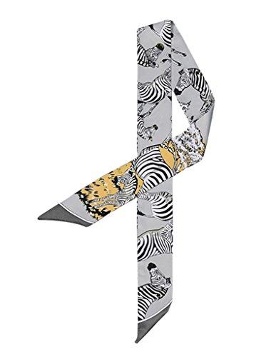 Xiang Ru Zebra Druck Damen Modern Blusen Shirt Krawatten Haarband Haarschmuck Hals Deko 07 Grau