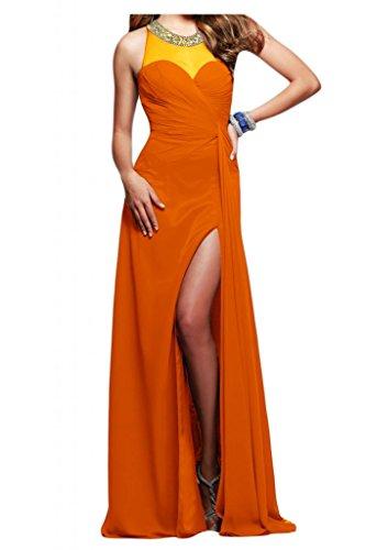 Toscane mariée pages fente chiffon abendkleider de longueur fixe party ballkleider demoiselle d'honneur Orange - Orange