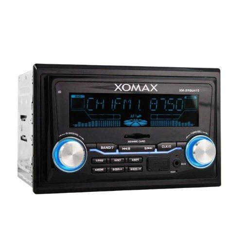 XOMAX XM-2RSU415 Autoradio mit USB Anschluss (bis 32 GB!) und SD Karten Slot (bis 32 GB!) für MP3, WMA inkl. ID3 TAG Anzeige + Beleuchtungsfarbe einstellbar: BLAU, ROT, VIOLETT + Subwoofer Anschluss + AUX IN Anschluss (Klinke) + Doppel DIN (2 DIN) Standard Einbaugröße + inkl. Fernbedienung & 2-DIN Einbaurahmen