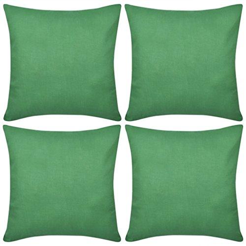 vidaXL Ensemble de 4 Taies d'oreiller Housse de Coussin Vert en Coton 50 x 50 cm