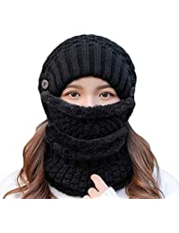 WYYUE Otoño Invierno Mujer Sombreros Gorros de punto Bufanda caliente  Grueso a prueba de viento Balaclava 46f86ed0f3f