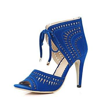 LvYuan Damen-Sandalen-Kleid Lässig Party & Festivität-Vlies-Stöckelabsatz-Komfort Knöchelriemen Club-Schuhe-Schwarz Blau Rot Blue