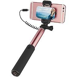 """ROCK iPhone 7 Plus Bastone Selfie,Selfie Stick con iPhone Lightning Controllo di Legare e Grande Specchio[245mm a 900mm][6""""o schermo più piccolo]per iPhone 6/6s Plus, iPhone 7/6/6s/5/5s e altro iPhone con Connettore Fulmini - Oro rosa"""