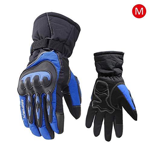 CampHiking Motorrad Handschuhe Unisex Touchscreen Reithandschuhe Anti-Rutsch Thermo-Kohle Handschuhe Wasserdicht Winter, Unisex, Blue-M