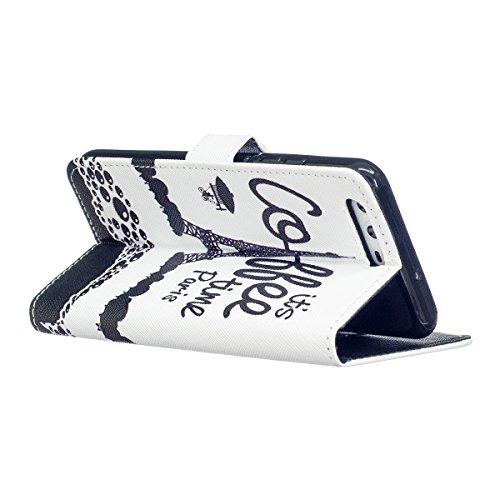 Custodia per Huawei P10 - Cover per Huawei P10 - ISAKEN Accessories Cover in PU Pelle Portafoglio Custodia, Elegante Embossed Pattern Design in Sintetica Ecopelle Libro Bookstyle Wallet Flip Portafogl Torre nero