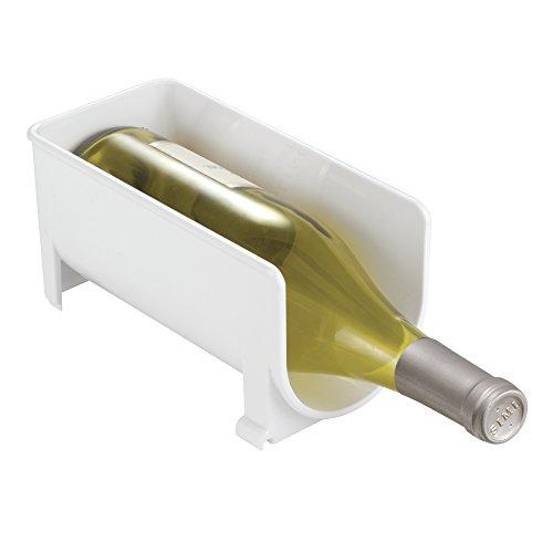 mDesign étagère à vin en plastique blanc – casier à vin polyvalent, empilable et modulable – range-bouteilles, pour stockage d'1 bouteille de vin – rangement pratique de la cave et la cuisine