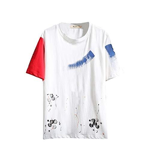 Tohole Herren T-Shirt Uni T-Shirt Slim Fit LäSsiges T-Shirt Mit MäNner Casual Männer Casual Printed Rundhals Kurzarm T-Shirt Top Klassischer Stil Einfach Street Style(weiß 1,4XL)