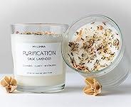 My Lumina Purification Sage Lavender Candle - Smudging Chakra Balancing Healing Candle Natural Soy Wax - White