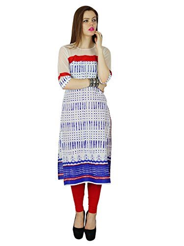 Bimba Long Kurti Rayon Blue Summer Tunique Sheer blouse manches courtes Clothing Bleu et blanc
