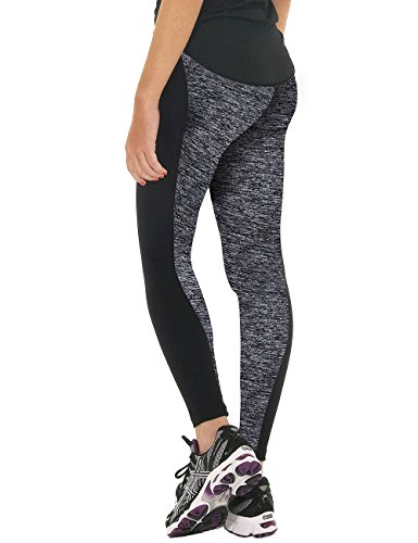 Women Fitness Tights Workout Running Leggings High Waist Yoga Pants (Black & Grey - Style 1, Small)